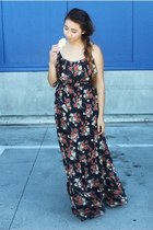 floral maxi BDarlin dress - wedges - silver vintage bracelet