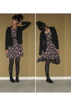 black Silence & Noise jacket - purple vintage dress - black tights - black socks