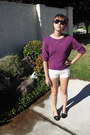 White-basic-h-m-shorts-black-forever-21-glasses-magenta-secondhand-jumper
