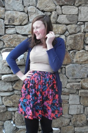 bubble gum One Clothing skirt - purple JCrew cardigan - nude H&M top