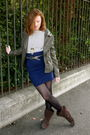 Green-camaieu-jacket-blue-forever-21-skirt-brown-unknown-boots-black-mims-