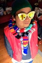 DIY scarf - handmade sunglasses - vintage vest - bonds jumper