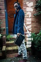 leather wool Posse Apparel coat - cotton Topshop pants - rayban glasses