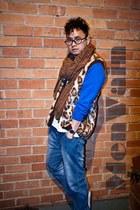 vintage vest - Target jeans - Zara scarf - Topman cardigan - Adidas sneakers