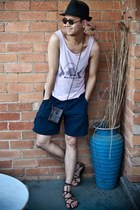 leather Ebay sandals - straw vintage hat - vintage bag - Police sunglasses