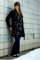 black Kimchi Blue dress - black BDG cardigan - gold Loyalty & Blood necklace - b