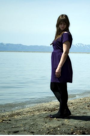 purple Silence & Noise dress - gold necklace - black Apt 9 tights - purple Steve