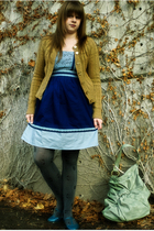 gold Urban Outfitters accessories - beige lux uo cardigan - blue Kimchi Blue dre