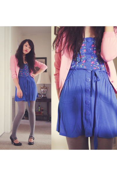 pink thrifted jacket - black payless unknown shoes - blue on sale Belk dress