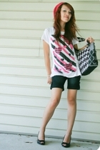 Rue 21 hat - Wet Seal t-shirt - shorts - payless shoes