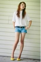 blouse - Forever21 shorts - belt - shoes