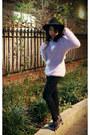 Black-river-island-hat-irregular-choice-heels-light-purple-dresslink-jumper