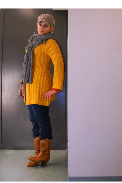 long mustard sweater
