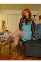 brown shirt - aquamarine dress