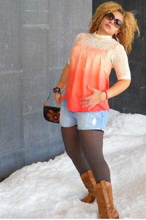orange ombre top - eggshell lace top - blue denim shorts