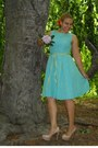 Vintage-aqua-marine-dress-yellow-bag