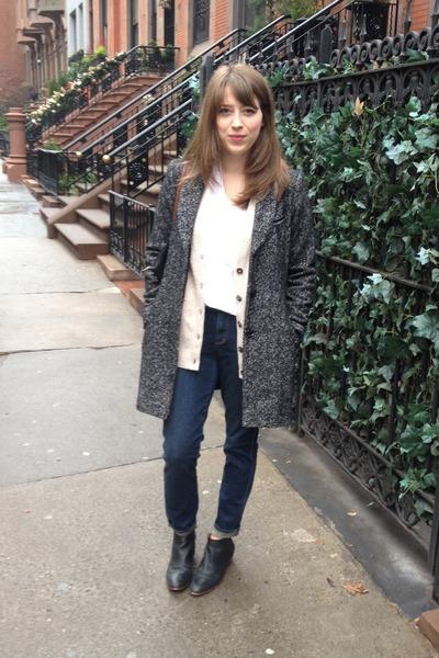 sam edelman boots - madewell jeans - vintage cardigan - skargorn t-shirt