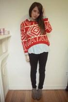 Sheinside sweater - sam edelman boots - Urban Outfitters shirt