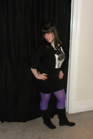 black Wet Seal blazer - white t-shirt - black Forever 21 skirt - purple tights -
