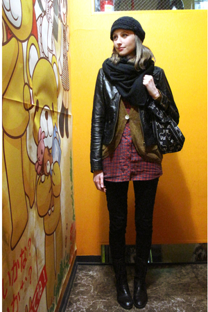 black Zara scarf - black Zara jacket - brown Lowrys Farm cardigan - red Uniqlo s