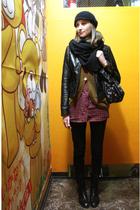 black Zara scarf - black Zara jacket - brown Lowrys Farm cardigan - red Uniqlo s