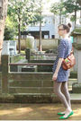 Blue-uniqlo-dress-brown-muji-leggings-green-sigerson-morrison-shoes