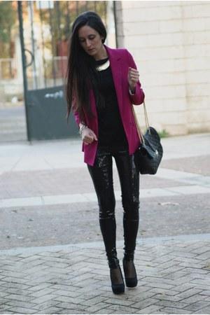 blazer - shirt - bag - vest - heels