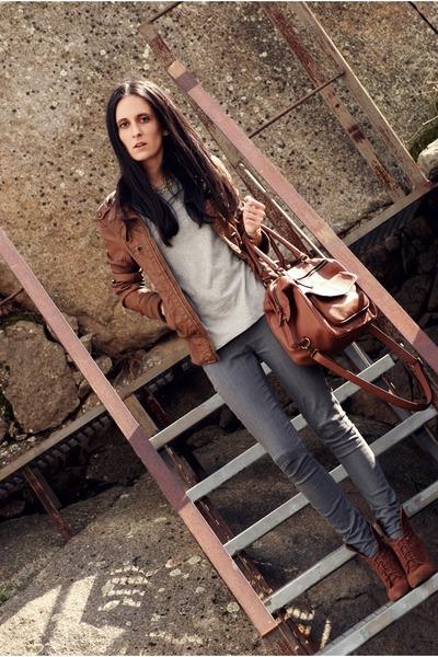Zara boots - Bershka jacket - Zara bag
