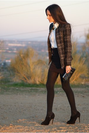 blazer - shirt - bag - heels