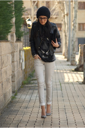 Bershka pants - OASAP jacket - firmoo glasses - Bershka heels