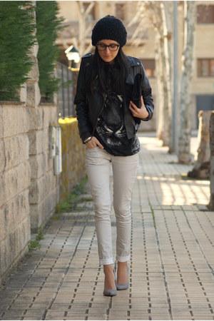 Bershka pants - OASAP jacket - firmoo glasses - Bershka heels