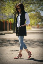 black Sfera vest - red Zara shoes - white Stradivarius blouse
