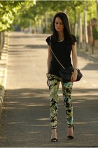 chartreuse Zara pants - black BLANCO bag - black Zara heels