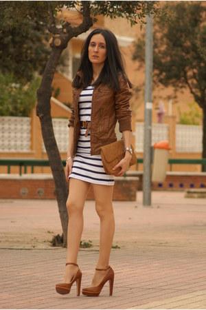 BLANCO dress - Bershka jacket - Stradivarius bag - Bershka heels