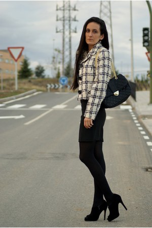 jacket - dress - bag - heels