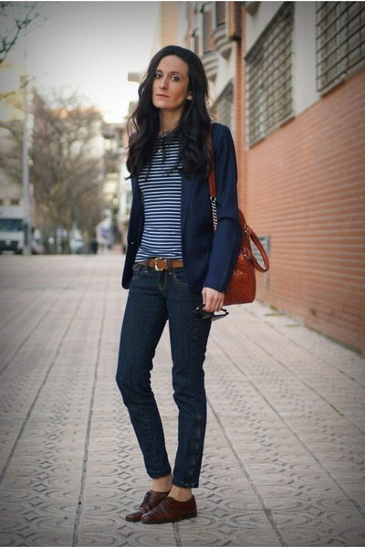 navy Mango jeans - dark brown vintage shoes - navy pull&bear blazer