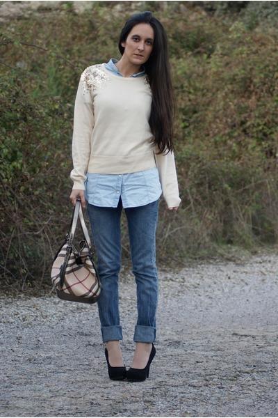 sweater , jeans , bag , heels