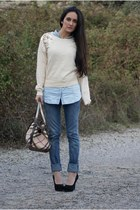 sweater - jeans - bag - heels