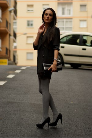 heels - dress - blazer - bag