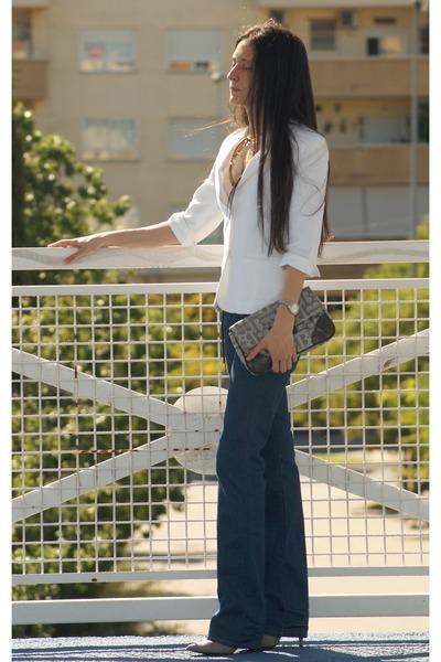 jeans - blazer - bag - heels