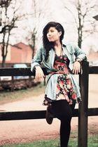 blue Topshopop shirt - brown vintage from Ebay shoes - Miss Selfridges dress