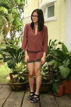 Laundry by Design blouse - Zara belt - Gap shorts - Zara shoes