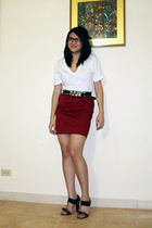 American Apparel t-shirt - Zara belt - Topshop skirt - Prada shoes