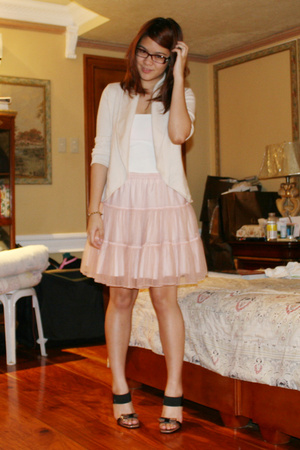 Capezio top - BCBG sweater - Gingersnaps skirt - Prada shoes