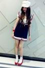 Navy-one-spo-dress-ivory-swordfish-hat-white-socks-white-dazzlin-t-shirt-