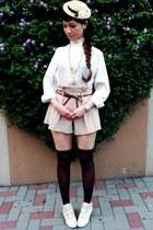 white boots - camel hat - cream Secondhand shirt - light orange shorts - dark br