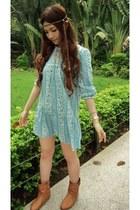 bronze boots - turquoise blue snidel dress - camel bohemian Love Girls Market ac