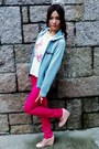 Sky-blue-jacket-hot-pink-pants-white-t-shirt-pink-heels