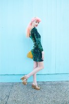 gold shell SwayChic bag - turquoise blue sequin Motel Rocks dress
