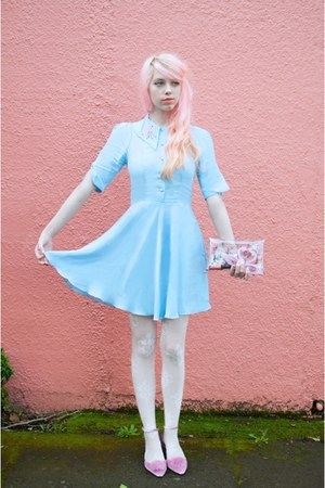 pink pompom asos heels - sky blue flamingo collar Coco Fennell dress